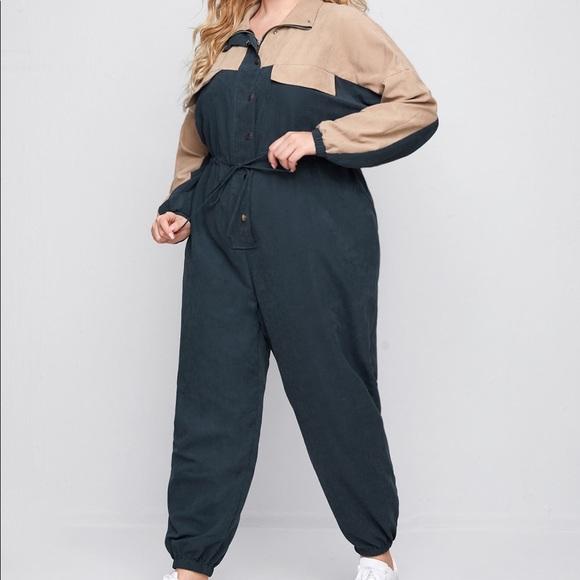 Plus size color block jumpsuit